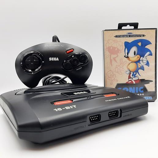 Sega Mega Drive II med Sonic the Hedgehog